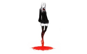Picture void, girl, loneliness, black dress, a pool of blood, by Sawasawa