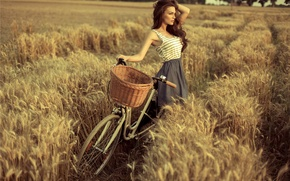 Picture field, bike, pose, Girl, dress, brown hair