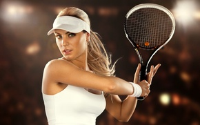 Picture woman, tennis, racket