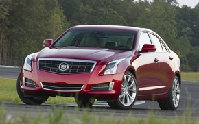 Picture trees, red, background, Cadillac, sedan, racing track, the front, ATS, Cadillac