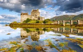 Picture bridge, lake, reflection, Scotland, Scotland, Dornie, Eilean Donan Castle, Dorn, Eilean Donan Castle