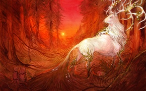 Picture forest, look, trees, fiction, animal, art, horns
