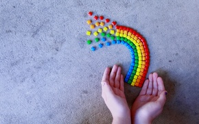 Picture macro, rainbow, hands