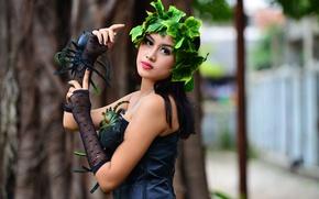 Picture look, girl, brunette, gloves, Asian, wreath, bokeh