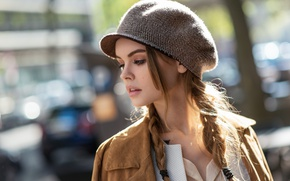 Picture girl, face, background, portrait, cap, bokeh, Anastasia Shcheglova