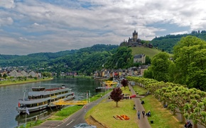 Picture mountains, shore, the city, Castle, fortress, river, Cochem, forest, home, Germany, trees, castle, pier, Cochem, ...