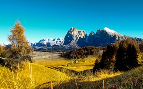 Picture autumn, the sky, trees, mountains, rocks, blue, field, houses, Sunny, forest