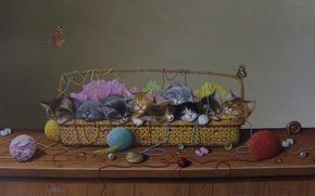 Picture mood, art, kittens, basket, Braldt Bralds