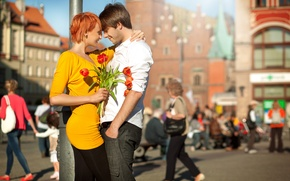 Picture girl, joy, flowers, the city, laughter, pair, tulips, red, guy