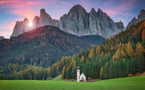 Picture meadows, Italy, Church, mountains, temple, forest, South Tyrol, the Dolomites, Val di Funes