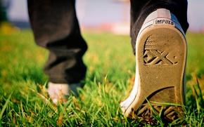 Wallpaper grass, sneakers, autumn