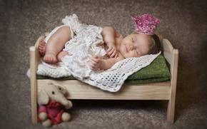 Picture children, toy, elephant, sleep, crown, baby, sleeping, shawl, child, cot