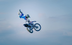 Picture the sky, clouds, maneuver, rider, motocross, freestyle, FMX, extreme sports, Can Can No Footed