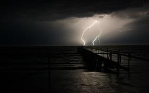 Picture sea, night, lightning