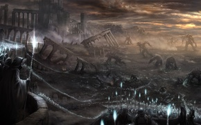 Picture magic, war, battle, monsters, the ruins