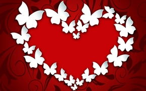 Picture butterfly, heart, love, heart, romantic, Valentine's Day