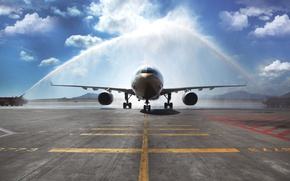 Picture The sky, The plane, Day, Arch, Passenger, Airbus, A330, Airliner, Meeting Aircraft, Watering, Fire trucks