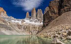 Picture landscape, mountains, nature, rock, lake, Chile, Patagonia