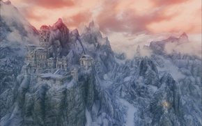 Picture snow, mountains, ruins, Skyrim, The Elder Scrolls V Skyrim, Skyrim, The Elder Scrolls