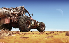 Picture the sun, desert, buggy
