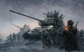 Picture winter, Wallpaper, soldiers, heroes, Blizzard, soldiers, battlefield, tanks, The great Patriotic war, game wallpapers, Company …