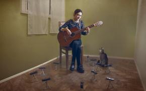 Picture cat, girl, music, guitar