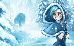 Picture winter, forest, girl, snow, trees, the wind, elf, bear, hood, Blizzard