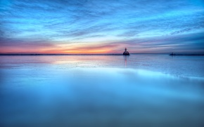 Picture sea, the sky, water, clouds, sunset, surface, blue, the evening, Lighthouse, turquoise