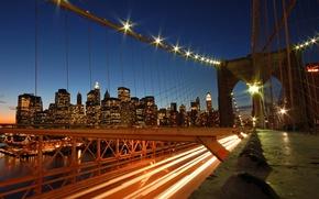 Wallpaper lights, road, the evening, Bridge