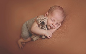 Picture toy, sleep, baby, bear, child, baby