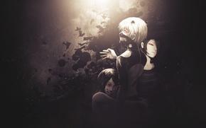 Picture anime, art, Tokyo ghoul, Tokyo Ghoul, Ken Kanek, Kirishima Bring, Rize Kamishiro