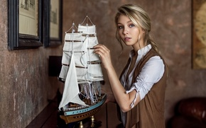 Picture girl, sweetheart, model, clothing, blonde, boat, vintage, studio, young, retro, Alice, beauty, russian, environmental, Maxim …