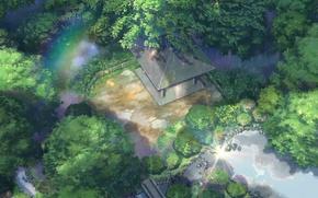 Picture roof, trees, pond, Park, stones, rain, the fence, rainbow, gazebo, Kotonoha no Niwa, Garden of …