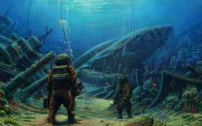 Picture sea, diver, ships, the bottom, depth