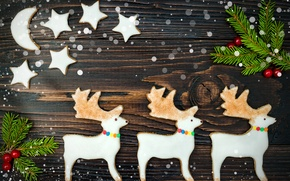 Wallpaper stars, Christmas, cookies, New year, Baking, sweet, Christmas, deer, Deer, sweet, cookies, cakes