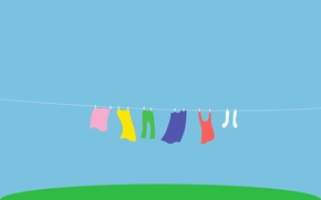 Wallpaper grass, linen, color, rainbow, rope, Mike, yard, socks, drying, pants, wash