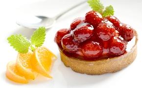 Picture berries, raspberry, orange, food, cake, slices, jam, sweet