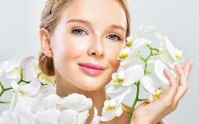 Picture girl, flowers, close-up, face, smile, background, makeup, hairstyle, brown hair, white, orchids