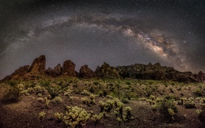 Picture space, stars, night, desert, The Milky Way, Butt