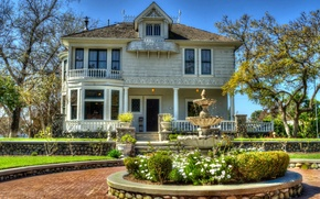 Picture trees, flowers, house, CA, fountain, USA, mansion, the bushes, Santa Ana