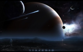 Wallpaper 152, astronaut, asteroid, planet