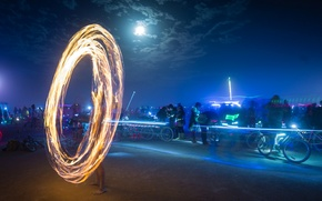 Picture the sky, clouds, lights, people, the moon, art, USA, Nevada, art, Burning-Man, fire show