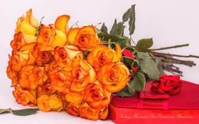 Picture box, roses, bunch