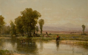 Picture picture, painting, painting, Encampment on the Platte river