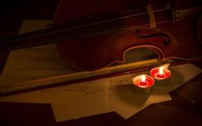 Picture notes, music, violin, candles