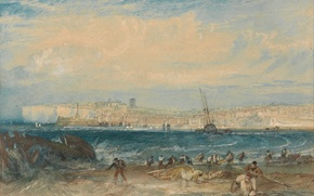 Picture sea, landscape, the city, rocks, England, picture, William Turner, Margaret