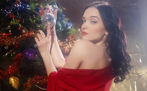 Picture look, girl, toys, new year, Christmas, spruce, brunette, garland, jenya d, Eugene, diordiychuk, Mar