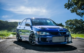 Picture Mitsubishi, Lancer, Evolution, blue, VIII