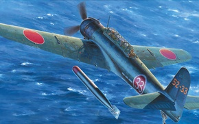 Picture war, art, airplane, painting, ww2, Nakajima B6N2 carrier attacker bomber Tenzan (jill) type12