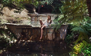 Picture girl, romance, plants, legs, photographer, pond, sitting, Carlos Williams